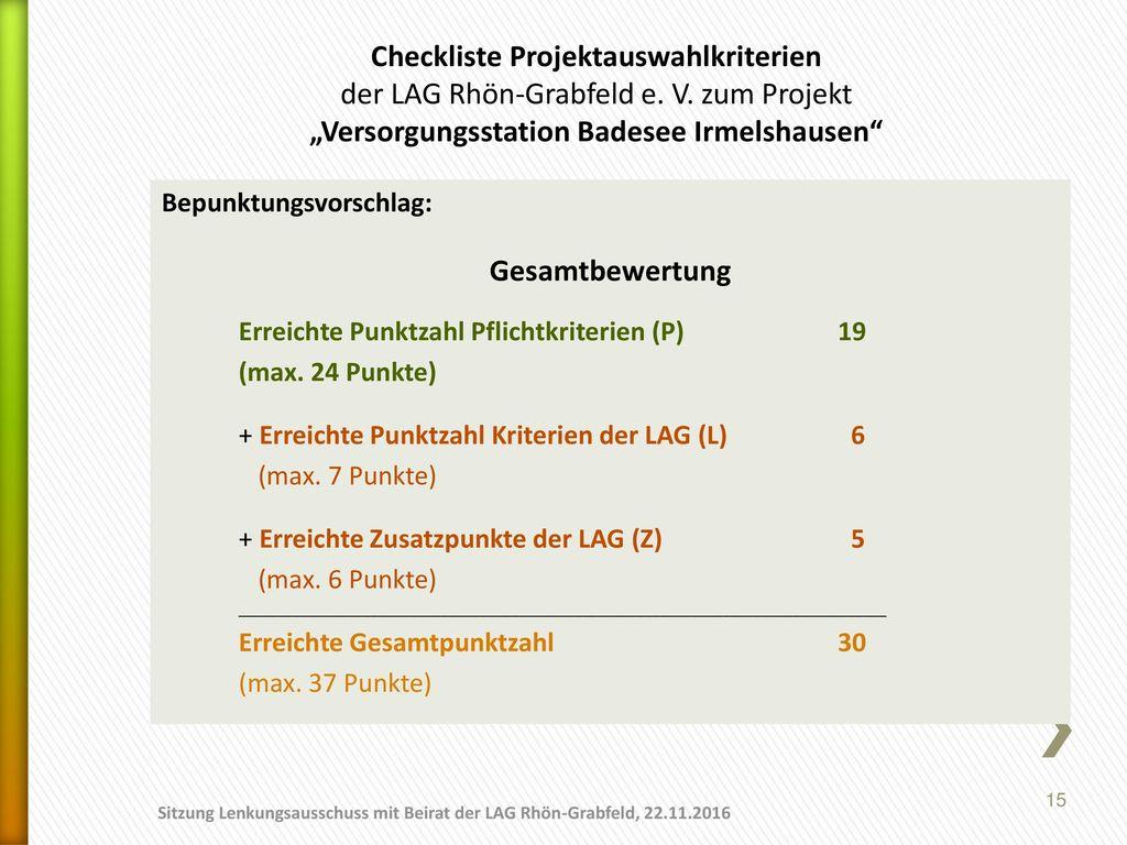 Checkliste Projektauswahlkriterien der LAG Rhön-Grabfeld e. V