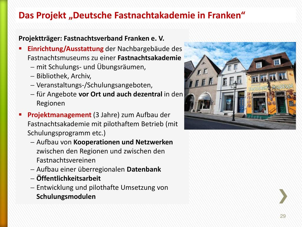 """Das Projekt """"Deutsche Fastnachtakademie in Franken"""