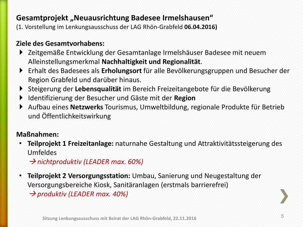 "Gesamtprojekt ""Neuausrichtung Badesee Irmelshausen"