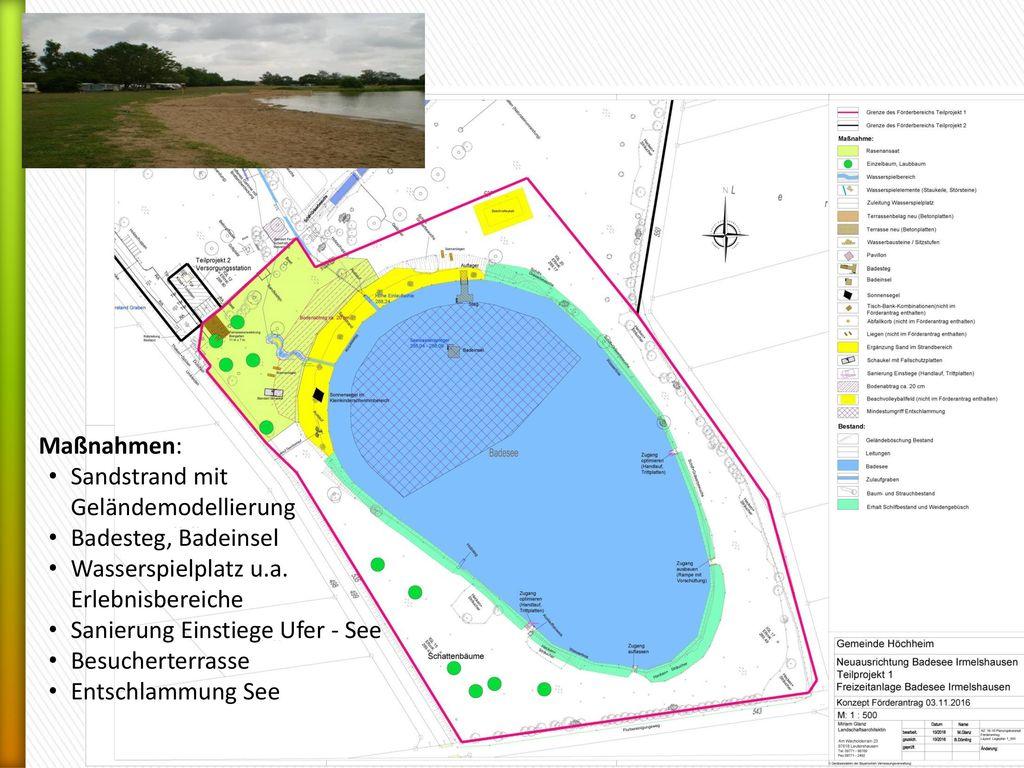 Maßnahmen: Sandstrand mit Geländemodellierung. Badesteg, Badeinsel. Wasserspielplatz u.a. Erlebnisbereiche.