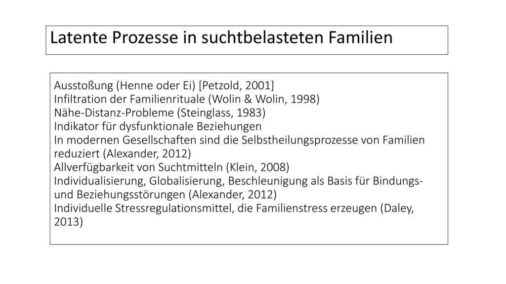 Latente Prozesse in suchtbelasteten Familien