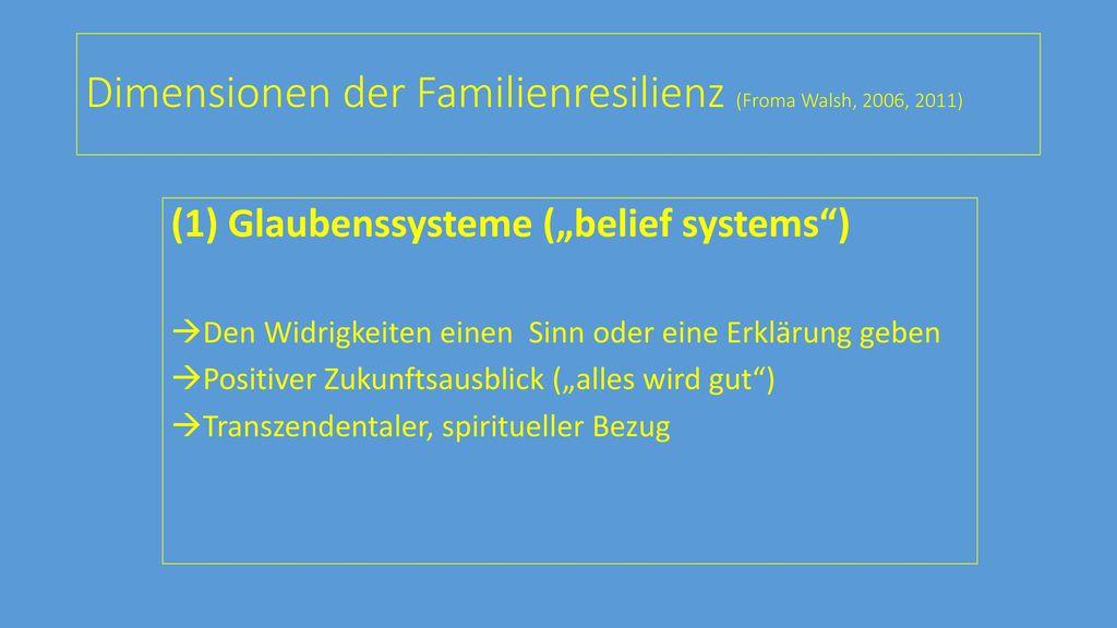 Dimensionen der Familienresilienz (Froma Walsh, 2006, 2011)