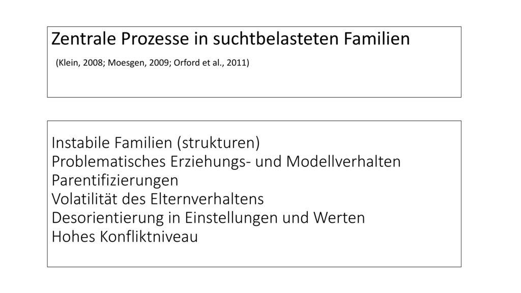Zentrale Prozesse in suchtbelasteten Familien
