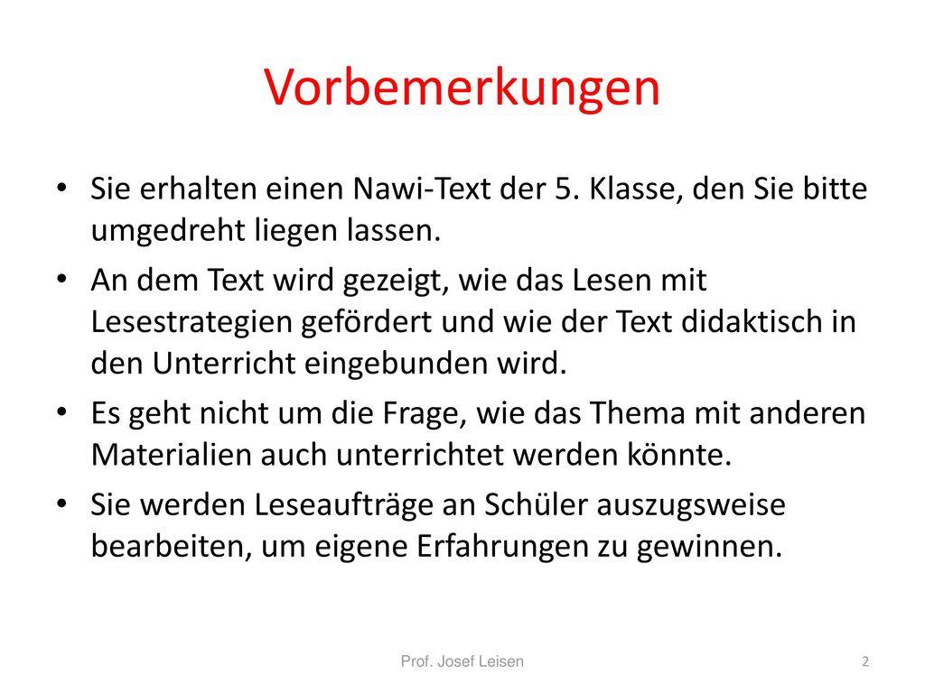 Vorbemerkungen Sie erhalten einen Nawi-Text der 5. Klasse, den Sie bitte umgedreht liegen lassen.