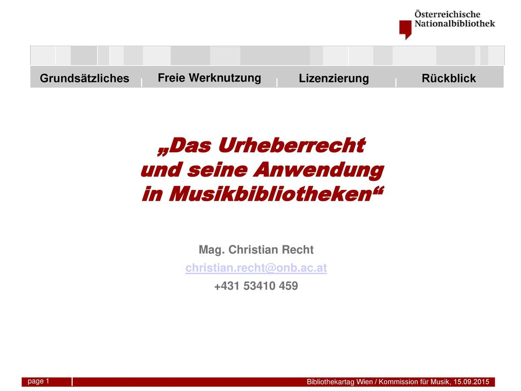 """""""Das Urheberrecht und seine Anwendung in Musikbibliotheken"""