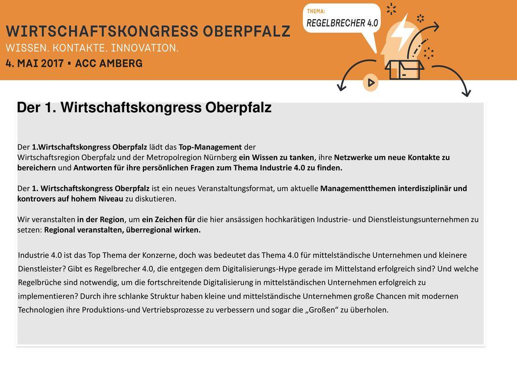 Der 1. Wirtschaftskongress Oberpfalz
