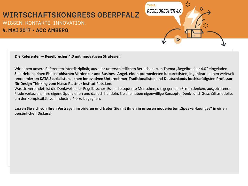 Die Referenten – Regelbrecher 4.0 mit innovativen Strategien