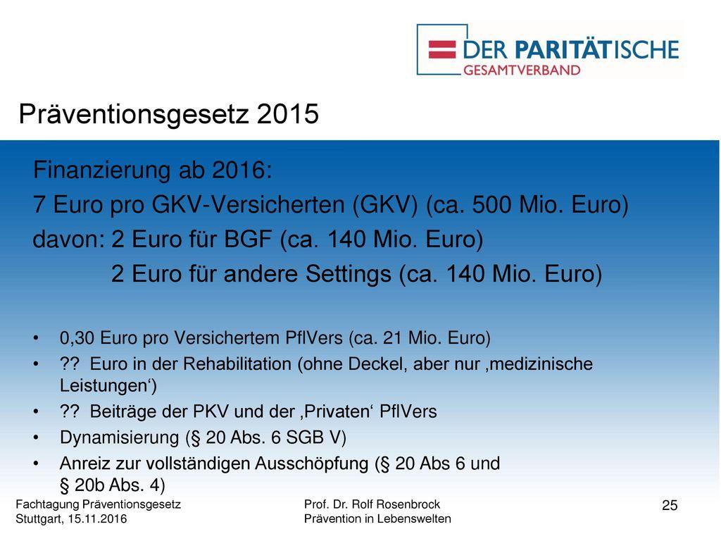 Präventionsgesetz 2015 Finanzierung ab 2016: