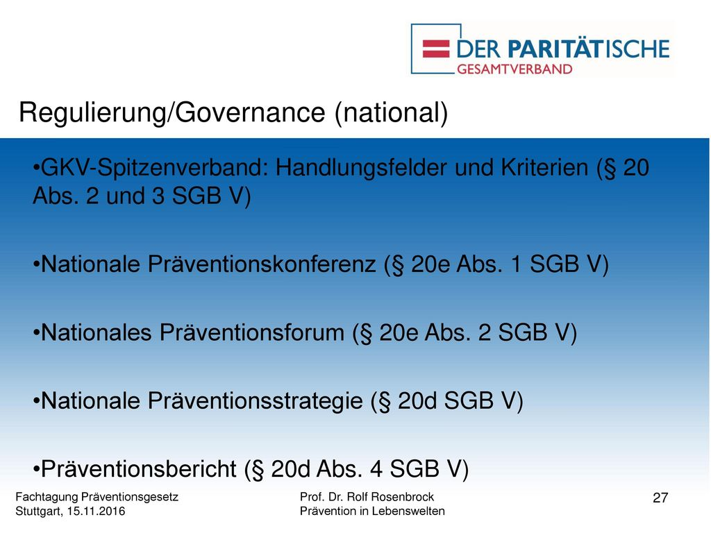 Regulierung/Governance (national)