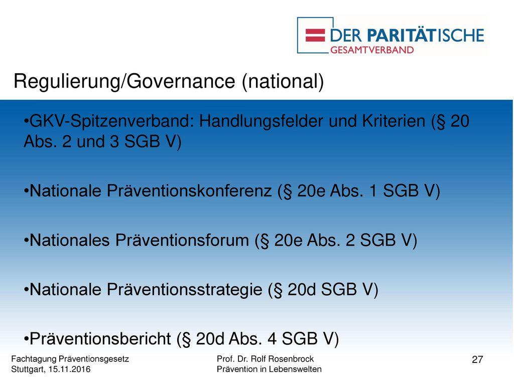 Regulierung/Governance (national)