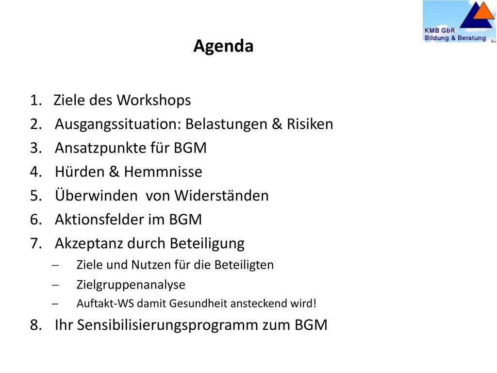 Agenda 1. Ziele des Workshops Ausgangssituation: Belastungen & Risiken