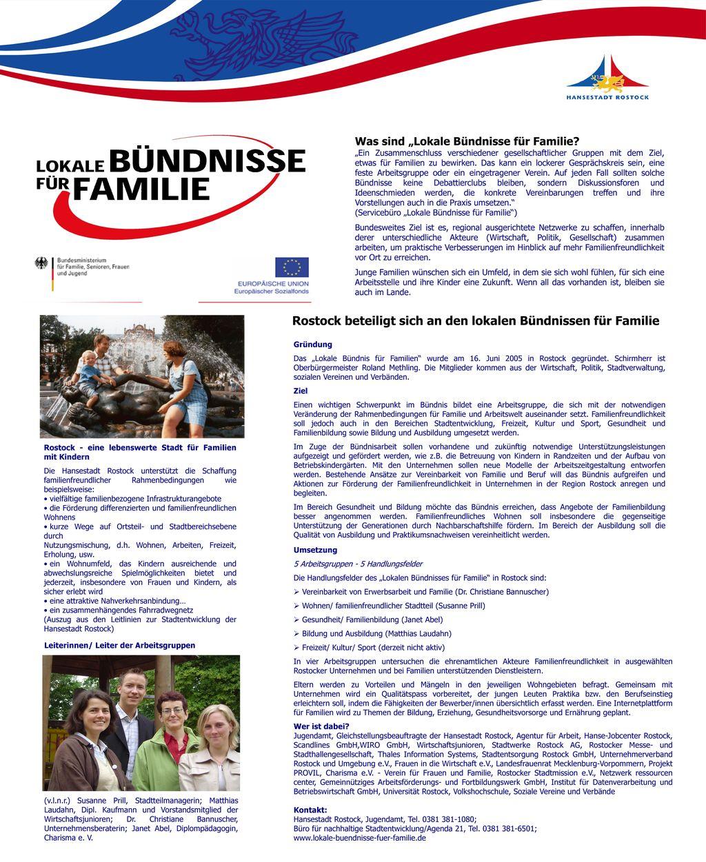 Rostock beteiligt sich an den lokalen Bündnissen für Familie