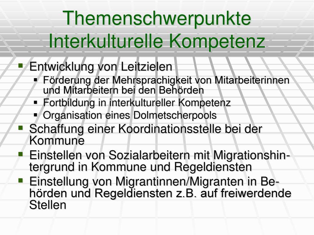 Themenschwerpunkte Interkulturelle Kompetenz