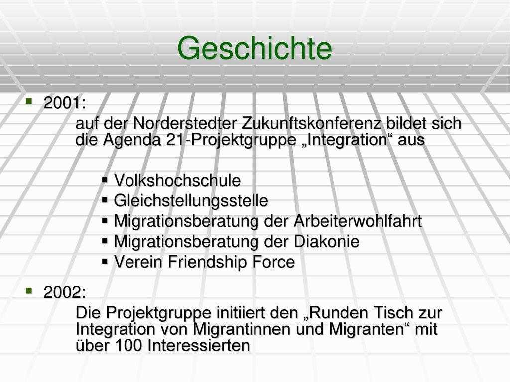 """Geschichte 2001: auf der Norderstedter Zukunftskonferenz bildet sich die Agenda 21-Projektgruppe """"Integration aus."""