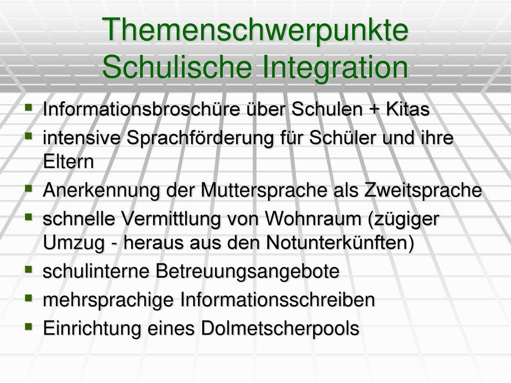 Themenschwerpunkte Schulische Integration