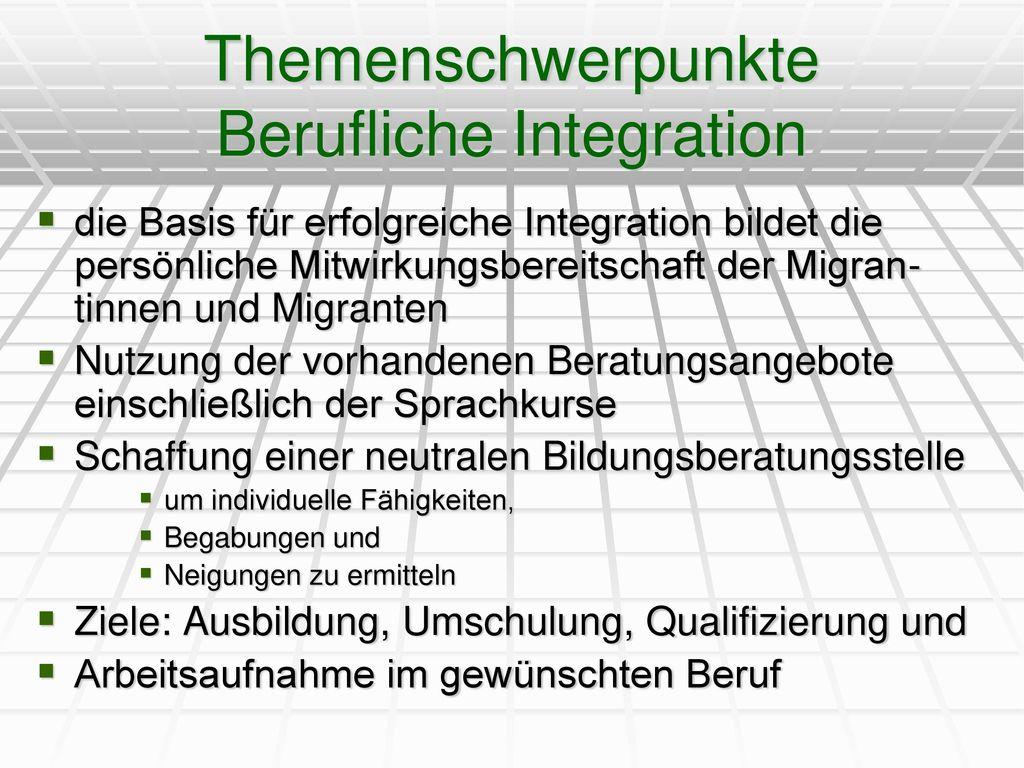 Themenschwerpunkte Berufliche Integration