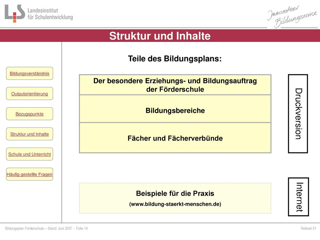 Struktur und Inhalte Druckversion Internet Teile des Bildungsplans: