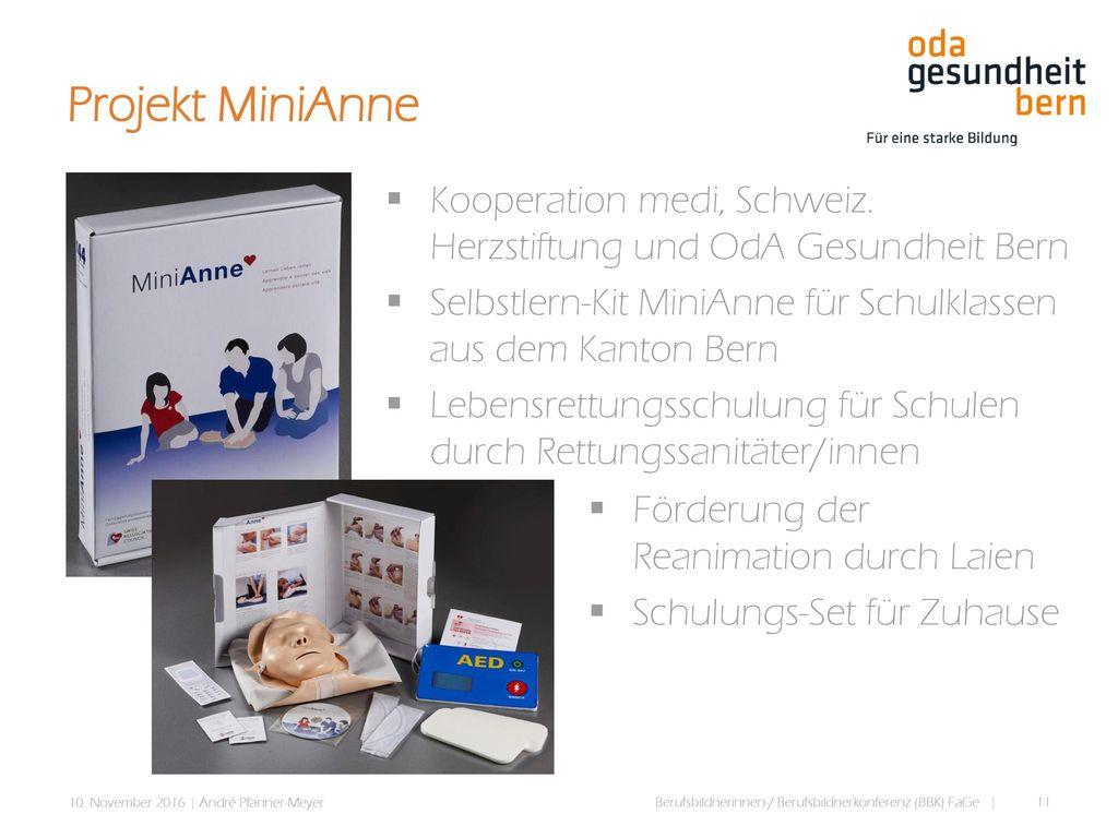 Projekt MiniAnne Kooperation medi, Schweiz. Herzstiftung und OdA Gesundheit Bern. Selbstlern-Kit MiniAnne für Schulklassen aus dem Kanton Bern.