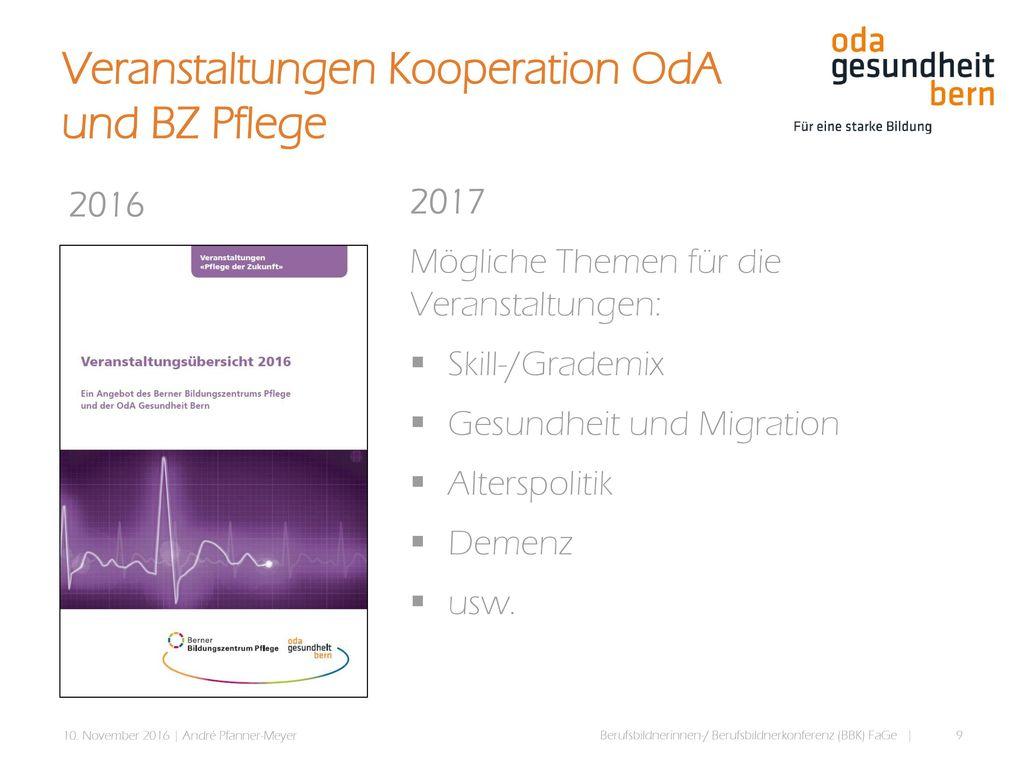 Veranstaltungen Kooperation OdA und BZ Pflege