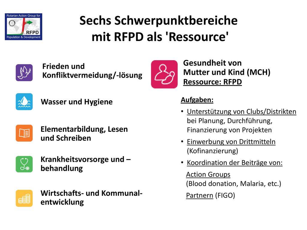 Sechs Schwerpunktbereiche mit RFPD als Ressource