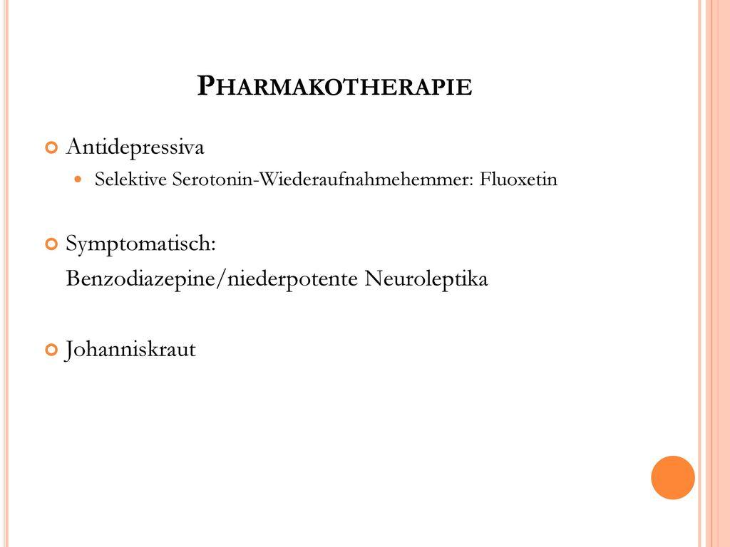 Pharmakotherapie Antidepressiva Symptomatisch: