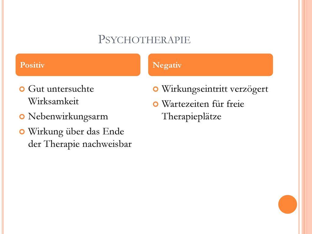 Psychotherapie Gut untersuchte Wirksamkeit Nebenwirkungsarm