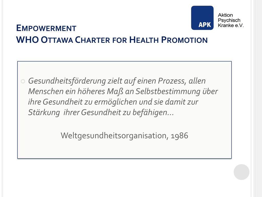 Empowerment WHO Ottawa Charter for Health Promotion