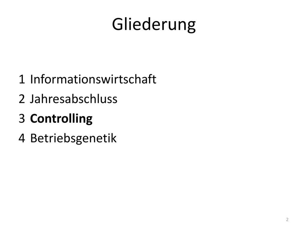 Gliederung 1 Informationswirtschaft 2 Jahresabschluss 3 Controlling