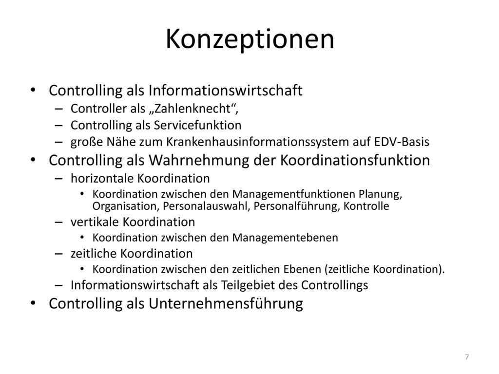 Konzeptionen Controlling als Informationswirtschaft