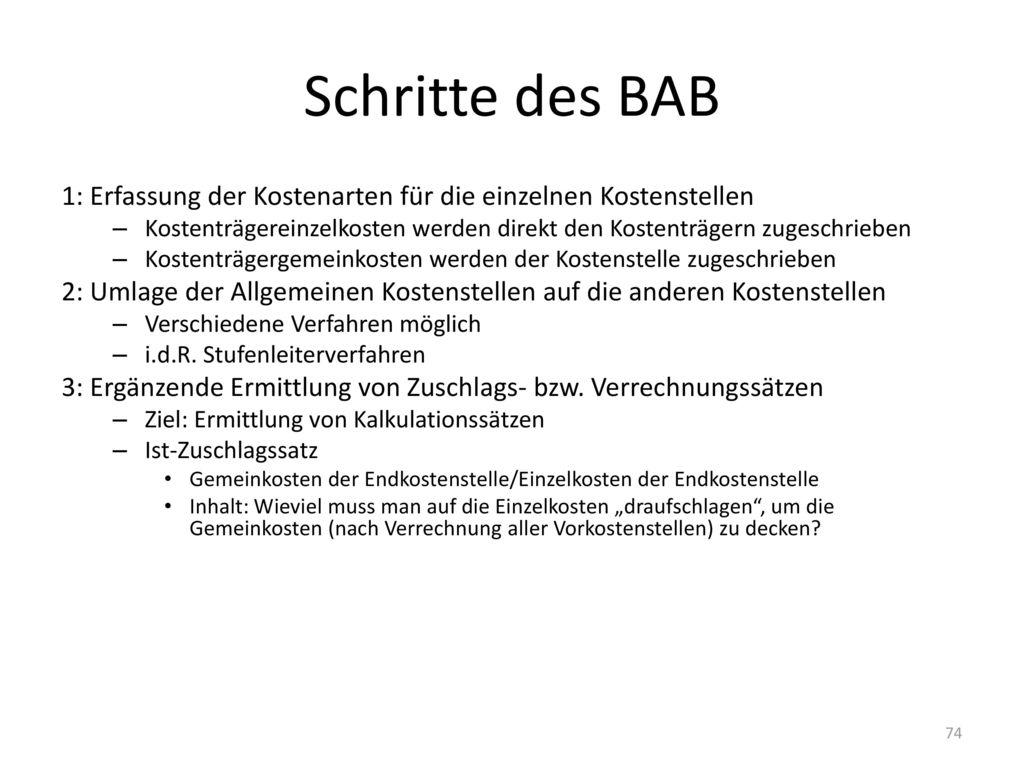 Schritte des BAB 1: Erfassung der Kostenarten für die einzelnen Kostenstellen.