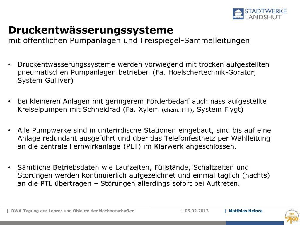 Druckentwässerungssysteme mit öffentlichen Pumpanlagen und Freispiegel-Sammelleitungen