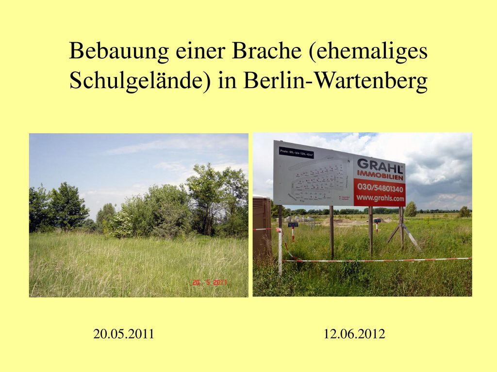 Bebauung einer Brache (ehemaliges Schulgelände) in Berlin-Wartenberg
