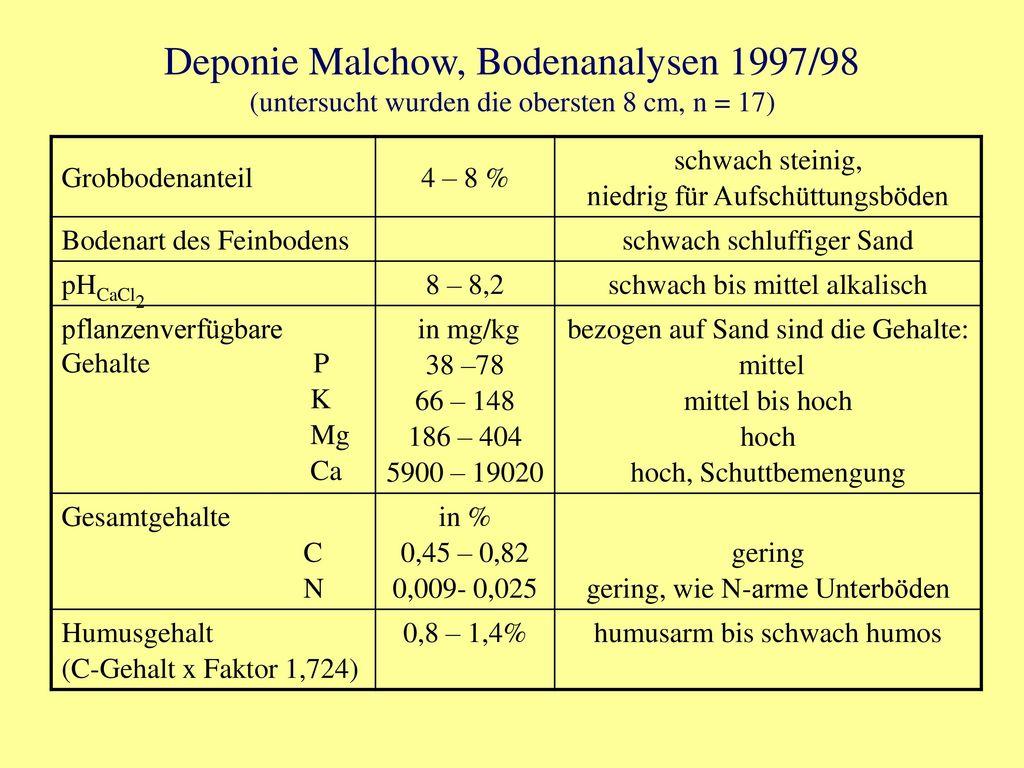 Deponie Malchow, Bodenanalysen 1997/98 (untersucht wurden die obersten 8 cm, n = 17)