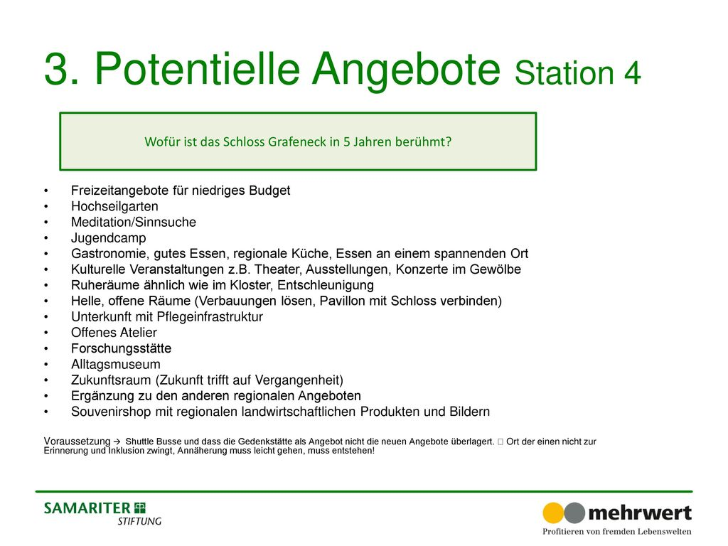 3. Potentielle Angebote Station 4