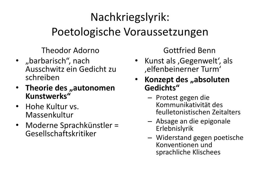 Nachkriegslyrik: Poetologische Voraussetzungen