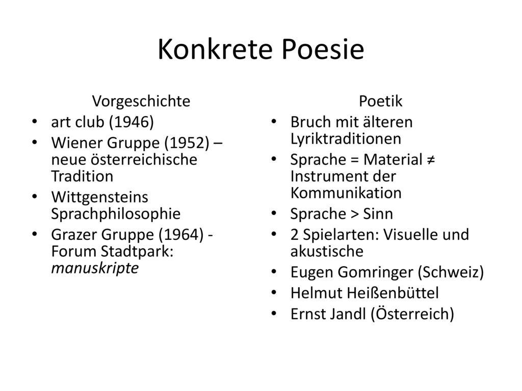 Konkrete Poesie Vorgeschichte art club (1946)