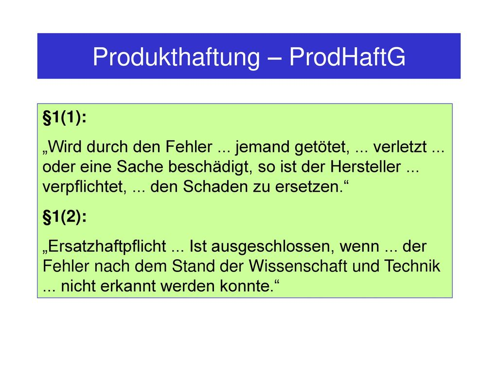 Produkthaftung – ProdHaftG