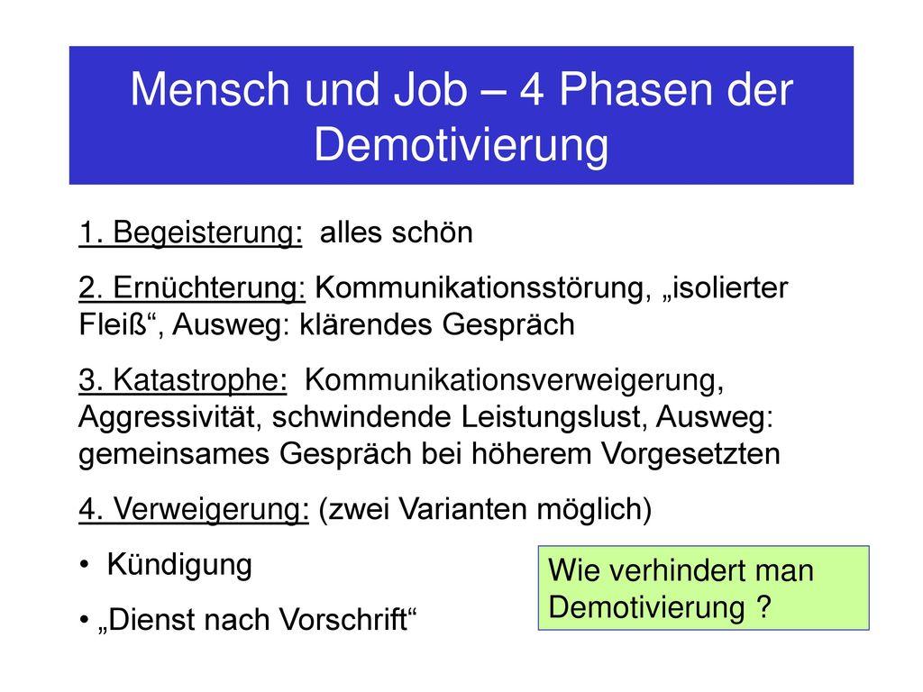 Mensch und Job – 4 Phasen der Demotivierung