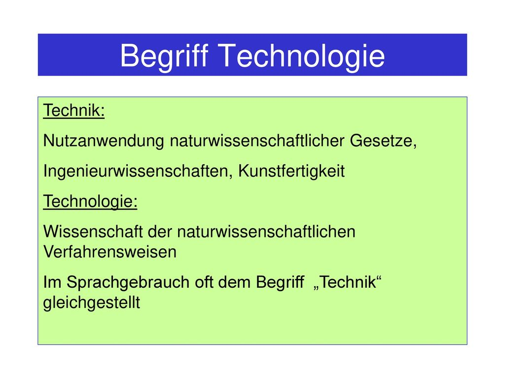 Begriff Technologie Technik: