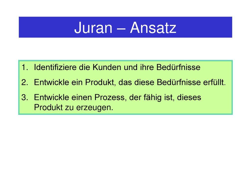 Juran – Ansatz Identifiziere die Kunden und ihre Bedürfnisse