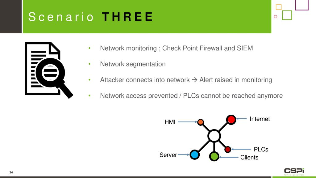 Scenario THREE Network monitoring ; Check Point Firewall and SIEM