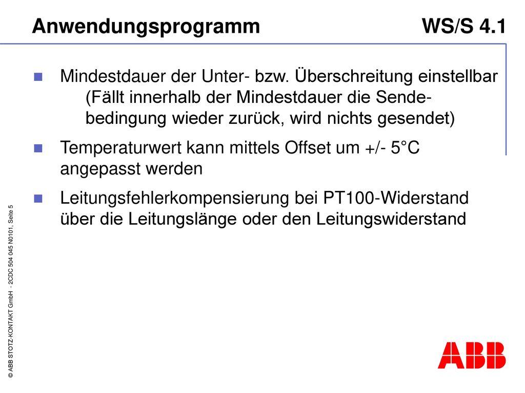 Anwendungsprogramm WS/S 4.1