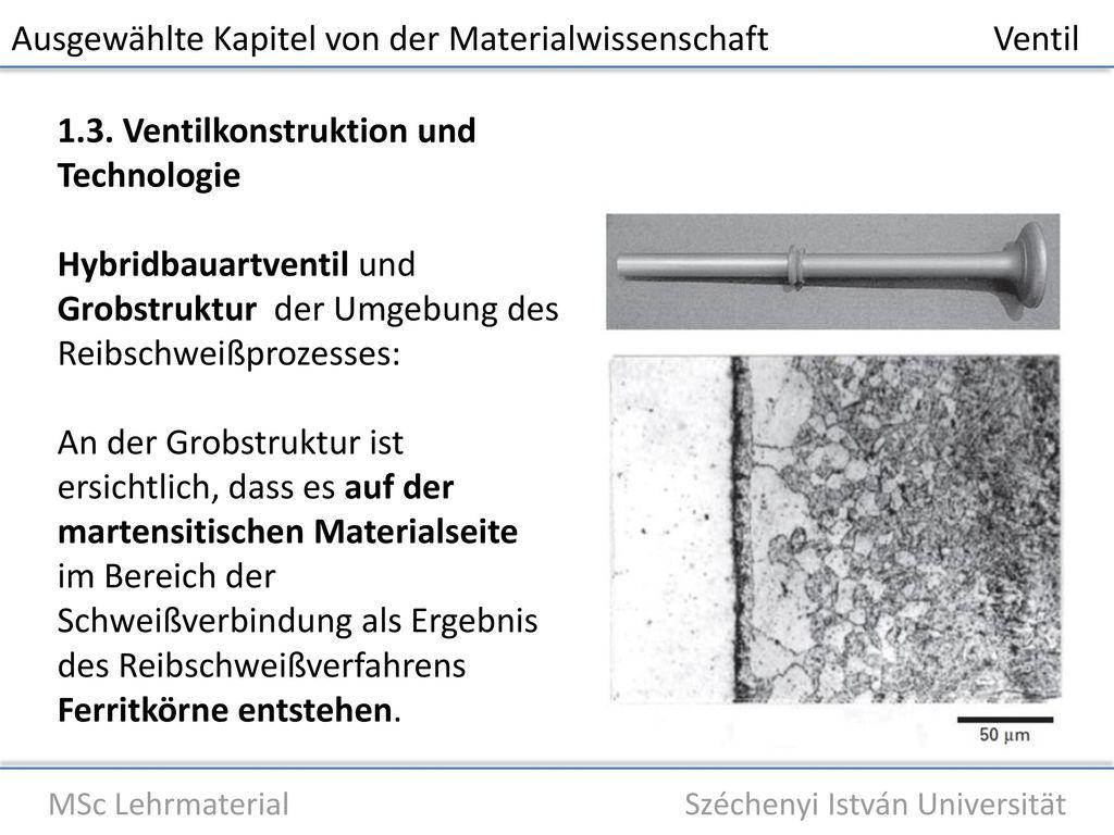Ausgewählte Kapitel von der Materialwissenschaft Ventil