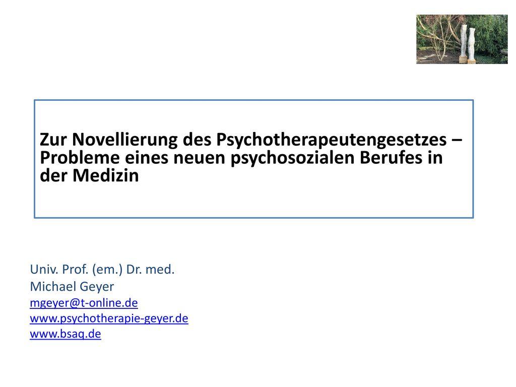 Zur Novellierung des Psychotherapeutengesetzes – Probleme eines neuen psychosozialen Berufes in der Medizin