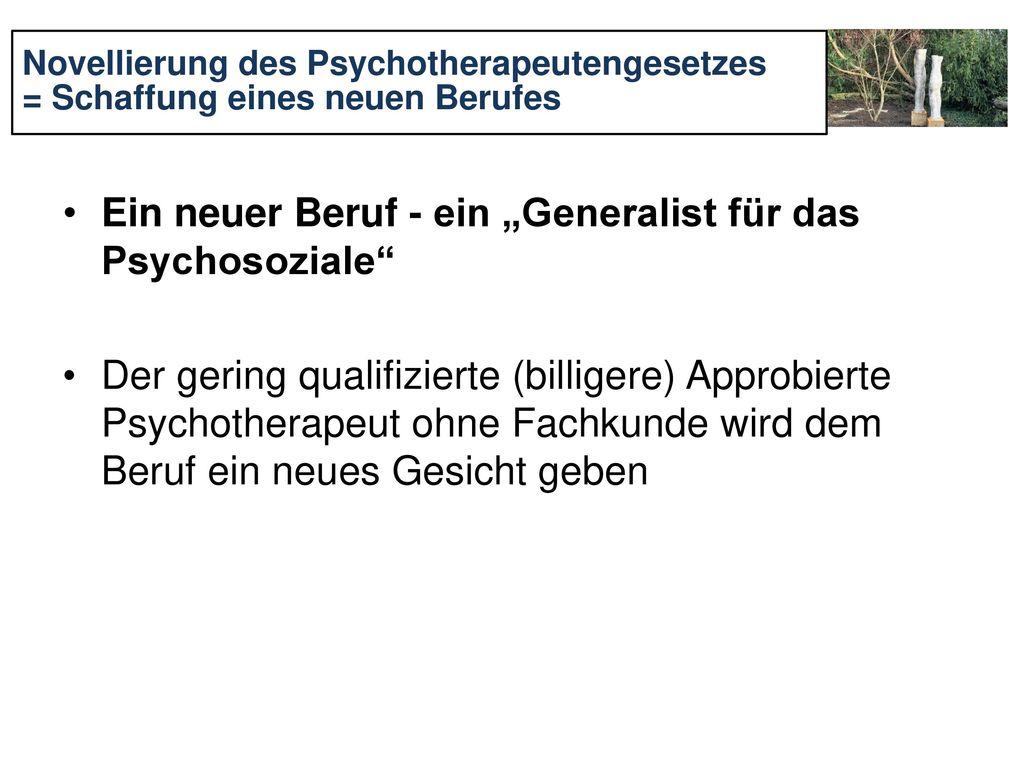 """Ein neuer Beruf - ein """"Generalist für das Psychosoziale"""