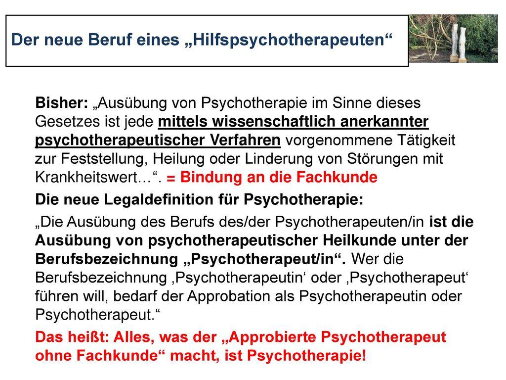 """Der neue Beruf eines """"Hilfspsychotherapeuten"""