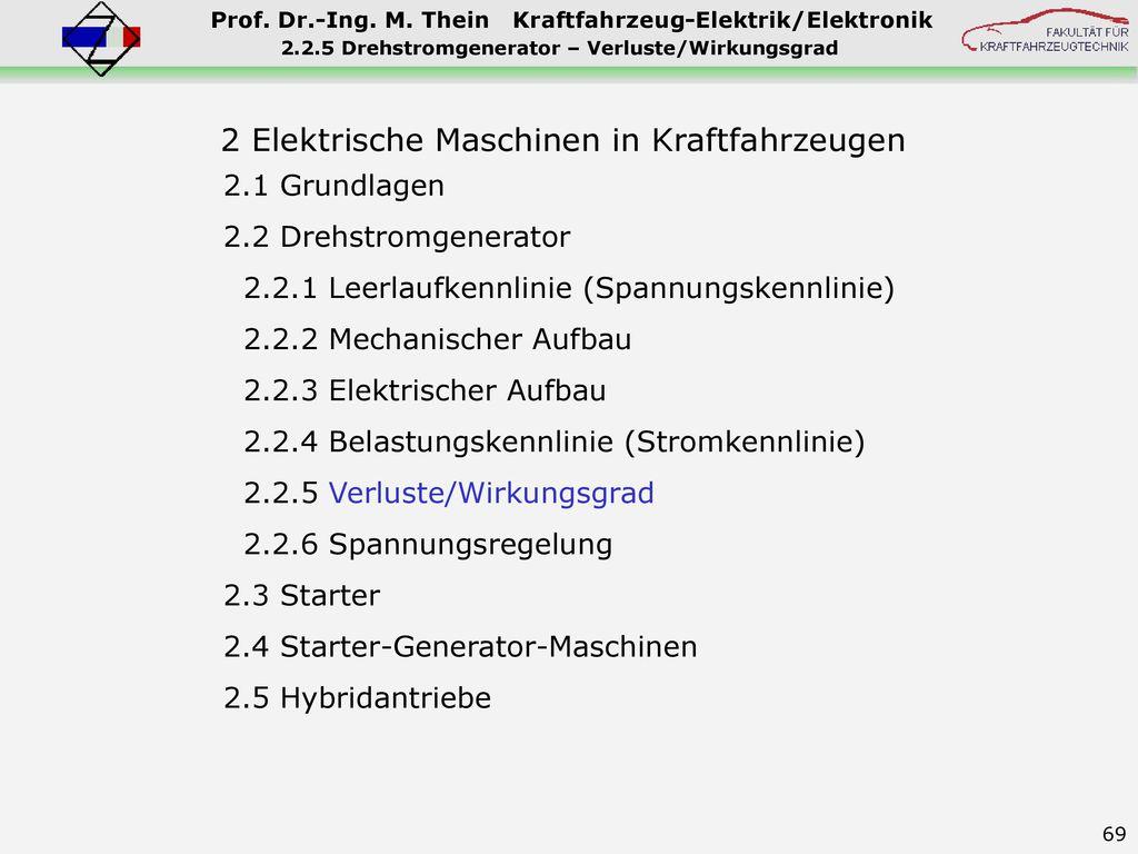 2.2.5 Drehstromgenerator – Verluste/Wirkungsgrad