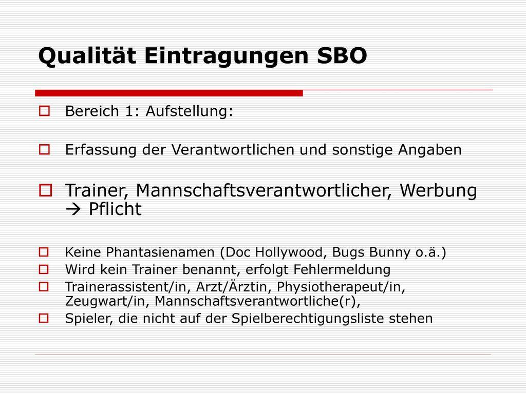 Qualität Eintragungen SBO