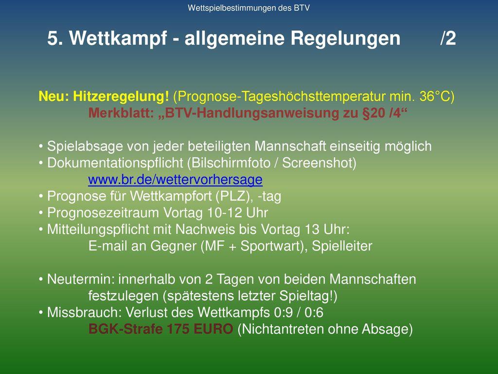 5. Wettkampf - allgemeine Regelungen /2