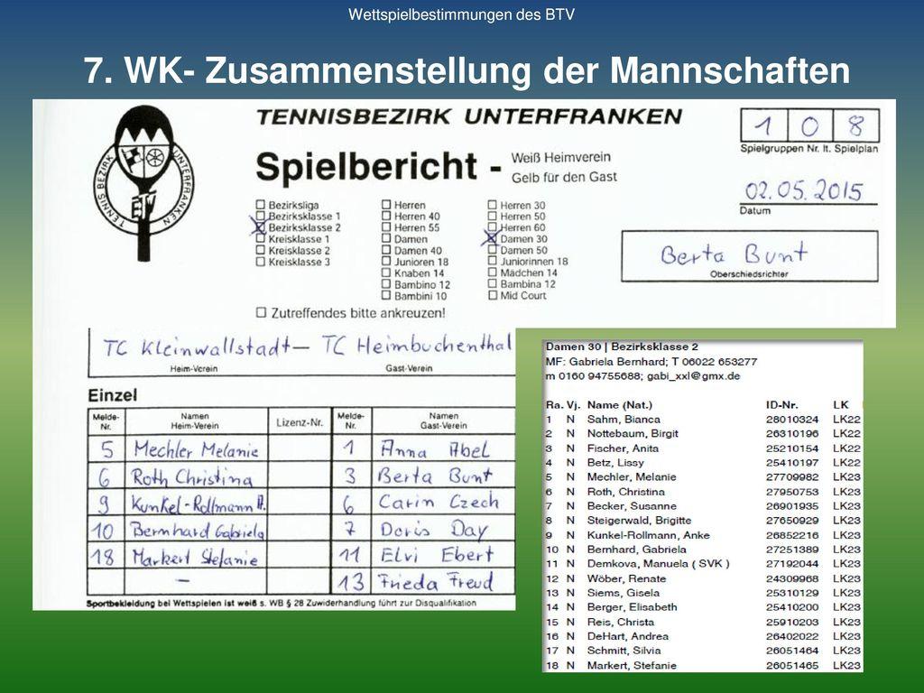 7. WK- Zusammenstellung der Mannschaften